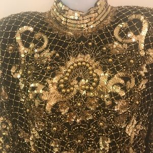 Gold and Black Sequined and beaded evening gown!